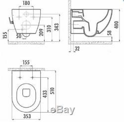Creavit FE320 Basalt Mat Wall Hung Mounted Toilet Pan wc soft seat Made inTurkey