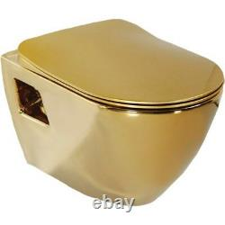 Creavit Terra Combined Bidet Gold Plated Wall Hung Mounted Toilet Pan wc seat