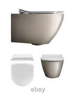 Crosswater Svelte Platinum Wall Hung WC Toilet SE6006CP & Soft Close Seat