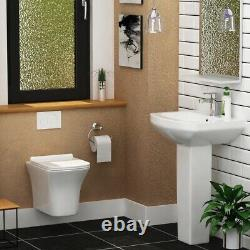 Cube Wall Hung Rimless Toilet & Seat, Square Button Concealed WC Cistern Frame