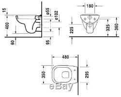 DURAVIT D-CODE 48CM COMPACT WC WALL HUNG TOILET PAN WITH SOFT SEAT 2in1 SET