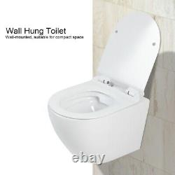 D Type Toilet WC Wall Hung Mounted Ceramic Cloakroom Heavy Duty Soft Close Seat