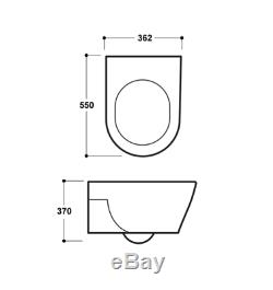 Designer Compact D Shape Wall Hung Toilet WC Soft Close Seat Space Saver 550