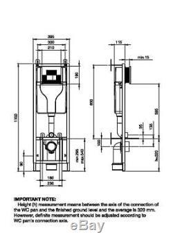 Dual Flush Adjustable Wall Hung Toilet Frame Concealed Cistern Chrome/Black