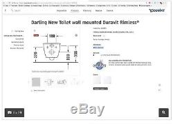 Duravit Darling 256309 New Rimless Wall Hung Rimless Toilet, Gerberit Frame Etc