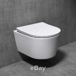 Durovin Bathrooms Ceramic Wall Hung White WC Pan Toilet With Soft Close Seat