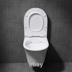 Durovin Bathrooms Modern Wall Hung Rimless Toilet D Shape Slim Soft Close Seat