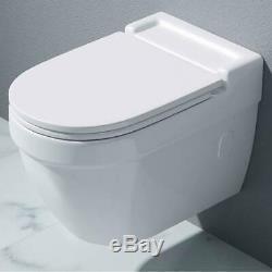 Durovin Bathrooms Modern Wall Hung Toilet Pan Ceramic WC Soft Close Seat White