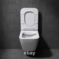 Durovin Bathrooms Modern Wall Hung Toilet Rectangle WC White Soft Close Seat