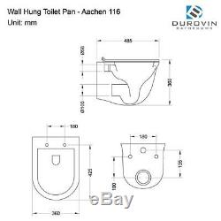 Durovin Bathrooms Rimless Wall Hung D Shape Toilet With Soft Close Seat