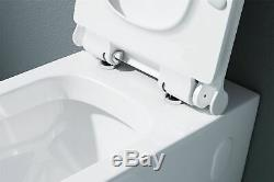 Durovin Toilet and Bidet Ceramic Wall Hung White 565x355x300mm A107 Set