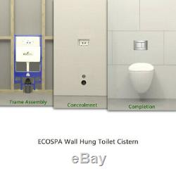 ECOSPA WC Concealed Wall Hung Toilet Cistern Frame + Dual Gold Eco Flush Plate