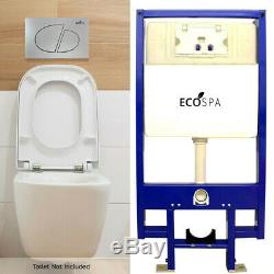 ECOSPA WC Concealed Wall Hung Toilet Cistern Frame + Dual Satin Eco Flush Plate