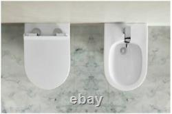 EVOLVE Modern Rimless Wall Hung Toilet with Thin Soft Close Seat-Round Shape