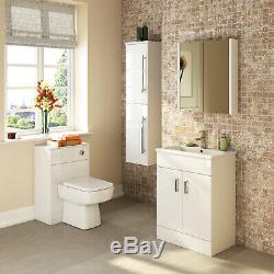 Eden Gloss White Bathroom Furniture Vanity Cabinet Basin, Mirror, WC Toilet Unit