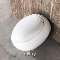 Egg Shaped Wall Hung Ceramic Toilet Bathroom Soft Close Coupled Short Projection