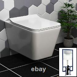 Elena Wall Hung Rimless Toilet & Round Button Concealed WC Cistern Frame, Seat