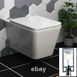 Elena Wall Hung Rimless Toilet & Seat, Square Button Concealed WC Cistern Frame