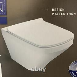 GEBERIT Frame UP100+Plate +DURAVIT Wall Hung Toilet Rimless WC+Soft Closing Seat