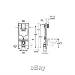 GROHE 38528 Rapid SL 3 in 1 WC Set 1.13m Concealed Frame Cistern Plate 38772001
