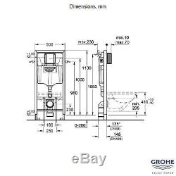 GROHE 38772 001 Rapid SL 3 in 1 WC Set incl. 1.13m Concealed Frame and Cistern