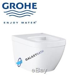 GROHE EURO CERAMIC L RIMLESS WC WALL HUNG TOILET PAN WITH SOFT CLOSE SEAT 2in1
