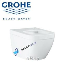 GROHE EURO CERAMIC S RIMLESS WC WALL HUNG TOILET PAN WITH SOFT CLOSE SEAT 2in1