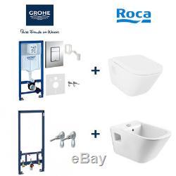 GROHE RAPID SL WC TOILET and BIDET FRAME + ROCA GAP WC+SEAT + ROCA GAP BIDET SET