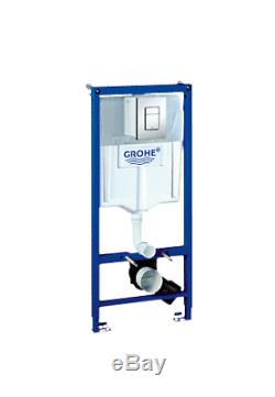 GROHE Rapid SL 0.82m Toilet Frame 38772 + Wall Hung Toilet Pan & SC Seat Pack
