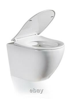 Galaxy Compact Round Rimless Wall Hung Wc Toilet Pan With Slim Soft Close Seat