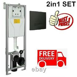 Galaxy Concealed Wc Wall Hung Toilet Cistern Frame With Black Dual Flush Plate