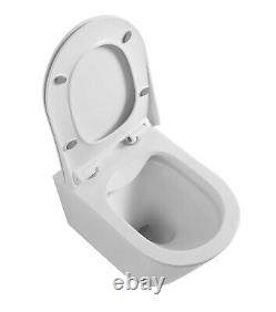 Galaxy Modern Round Rimless Wall Hung Wc Toilet Pan With Slim Soft Close Seat