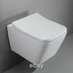 Galaxy Modern Square Rimless Wall Hung Wc Toilet Pan With Slim Soft Close Seat