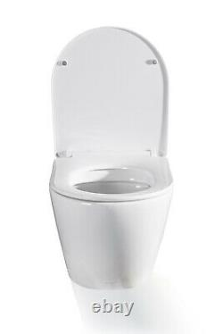 Geberit Delta Wc Frame + Rimless Wall Hung Toilet Pan With Soft Close Seat Set