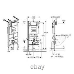 Geberit Duofix 1.12m WC Toilet Frame UP320 Cistern + SIGMA01 Chrome Plate