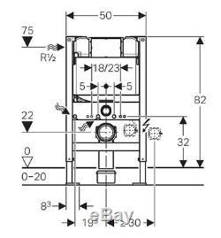 Geberit Duofix Kappa Up200 Wc Toilet Cistern Frame 820mm + Brackets + Wc Bend