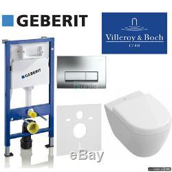 Geberit Duofix Up100 Frame+flush Plate+ Rimless Subway Compact Wc+soft Clos Seat
