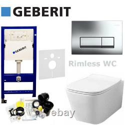 Geberit Duofix Up100 Frame +flush Plate+wall Hung Wc Rimless Soft Closing Toilet