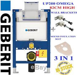 Geberit Duofix omega UP200 82cm wall hung toilet frame + wall brackets & mat H82