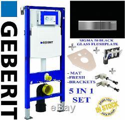 Geberit UP320 1.12m WC TOILET FRAME + SIGMA GLASS EFFECT FLUSHPLATE BRACKETS