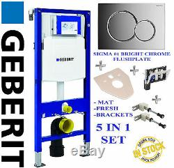 Geberit UP320 1.12m WC WALL HUNG TOILET FRAME + plate + brackets, fresh + mat