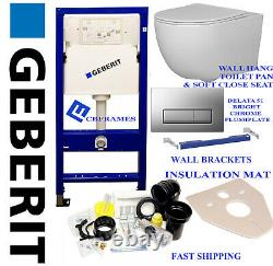 Geberit WC wall hung toilet frame with ceramic pan, chrome plate, brackets & mat