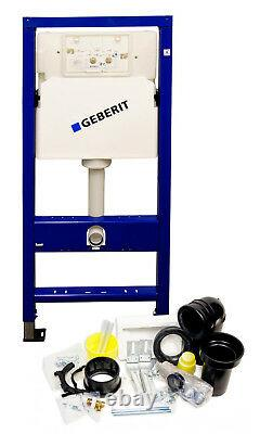 Geberit WC wall hung toilet frame with rimless pan, chrome plate, brackets & mat