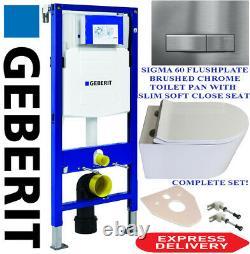 Geberit duofix WC wall hung toilet frame, Rimless Pan, FLushplate, Accessories