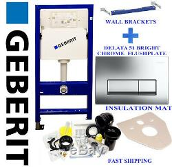 Geberit wall hung toilet frame with bright chrome flushplate, brackets & mat wc