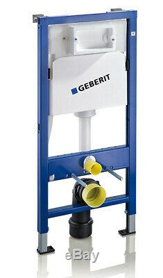 Geberit wall hung toilet frame with rimless pan, chrome plate, brackets & mat wc