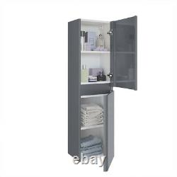 Gloss Grey Bathroom Wall Hung Floor Standing Basin Vanity Unit Tallboy Furniture