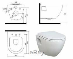 Gloss Red Wall Hung Mounted Combined Bidet Toilet Pan WC Soft Close Seat