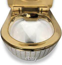 Gold Patterned Toilet Wall Hung Compact Rimless Wc With Slim Soft Closing Seat