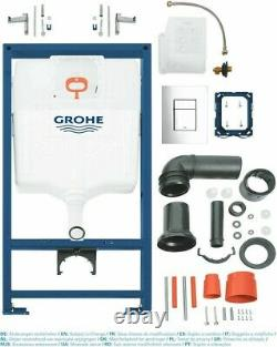 Grohe 0.82m Concealed Cistern Wc Frame With Compact Rimless Wall Hung Toilet Pan